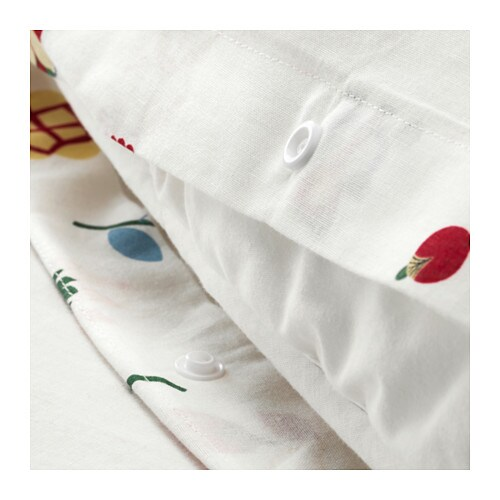ROSENFIBBLA Duvet cover and pillowcase(s)   Cotton feels soft and nice against your skin.  Concealed snaps keep the duvet in place.
