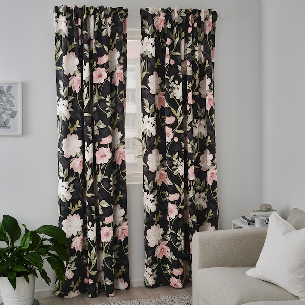 Rosenmott Blackout Curtains 1 Pair Black Floral Patterned 57x98 145x250 Cm Ikea