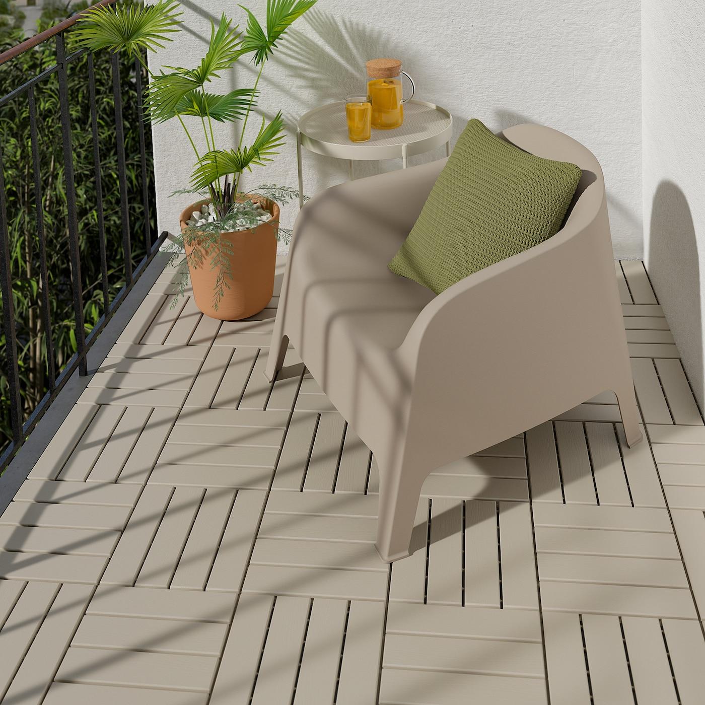 Ikea RUNNEN Decking, outdoor, beige9 sq feet (0.81 m²)
