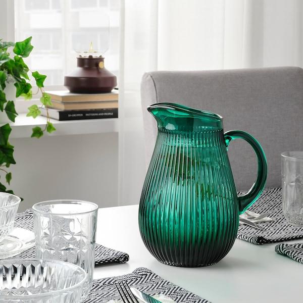 SÄLLSKAPLIG Jug, patterned/green, 68 oz