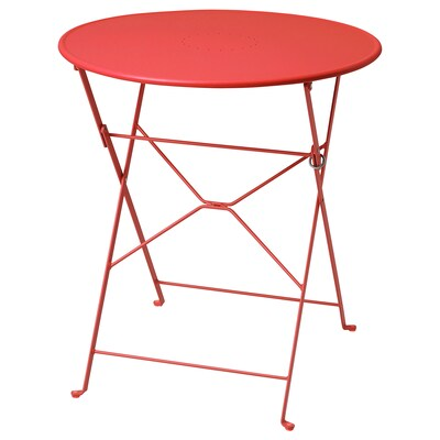 SALTHOLMEN Table, outdoor, foldable/orange, 25 5/8 ""