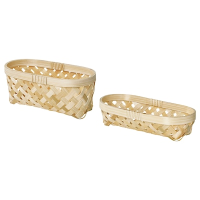 SALUDING Basket, set of 2, handmade bamboo