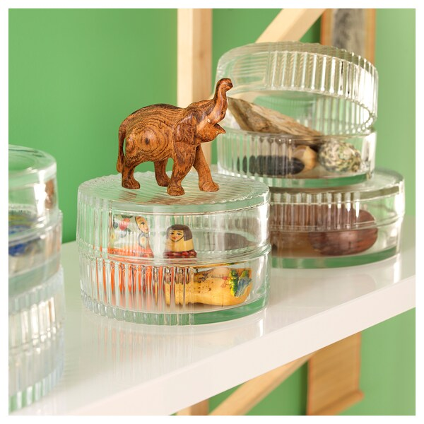 """SAMMANHANG Glass box with lid, clear glass, 3 ¼ """""""