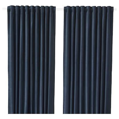 """SANELA Room darkening curtains, 1 pair, dark blue, 55x98 """""""