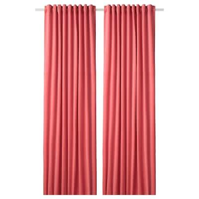 """SANELA Room darkening curtains, 1 pair, light brown-red, 55x98 """""""
