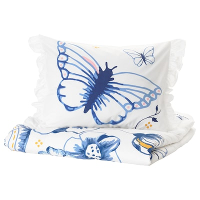 SÅNGLÄRKA Duvet cover and pillowcase(s), butterfly/white blue, Twin