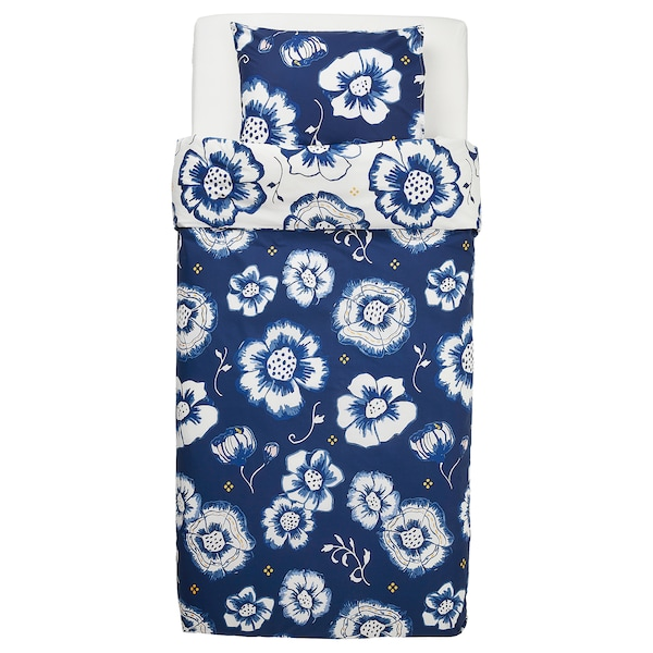 SÅNGLÄRKA Duvet cover and pillowcase(s), flower/dark blue white, Twin