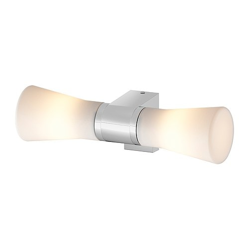 SÄVERN Wall lamp, double   Diffused light provides a general light.  Mouth blown glass; each lamp is unique.