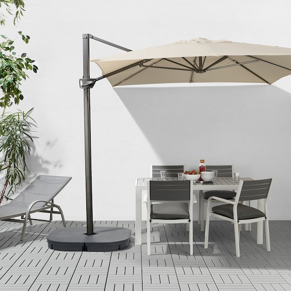 SEGLARÖ Offset patio umbrella, beige/tilting, 129 7/8x94 1/2 ""