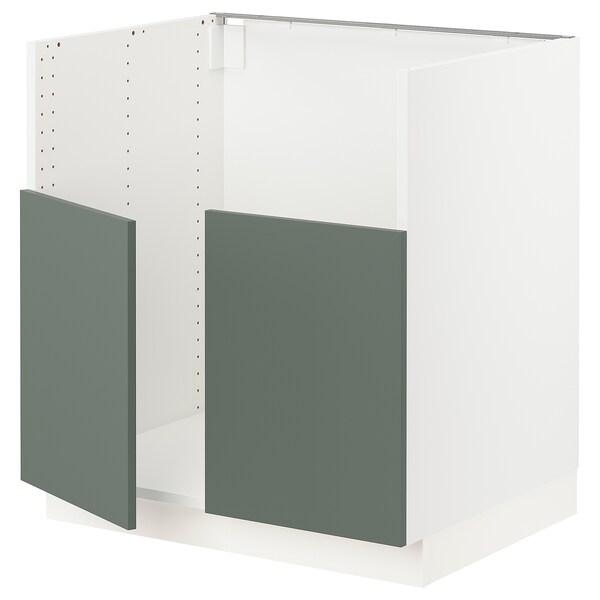 """SEKTION Base cab f BREDSJÖN dbl bowl sink, white/Bodarp gray-green, 30x24x30 """""""