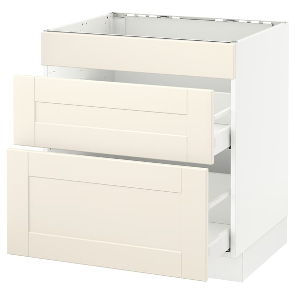 """SEKTION Base cab f/cooktop with 2 drawers, white Maximera/Grimslöv off-white, 30x24x30 """""""