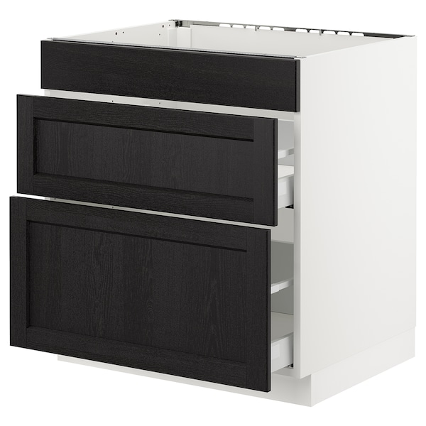 SEKTION Base cab f/cooktop with 2 drawers, white Maximera/Lerhyttan black stained, 30x24x30 ""