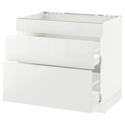 """SEKTION Base cab f/cooktop with 2 drawers, white Maximera/Ringhult white, 36x24x30 """""""