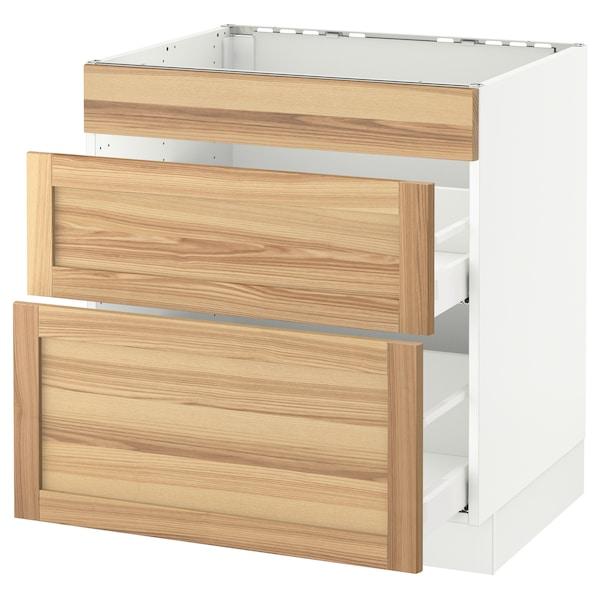 "SEKTION Base cab f/cooktop with 2 drawers, white Maximera/Torhamn ash, 30x24x30 """