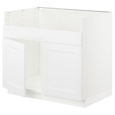 SEKTION Base cab f HAVSEN double bowl sink, white/Axstad matt white, 36x24x30 ""