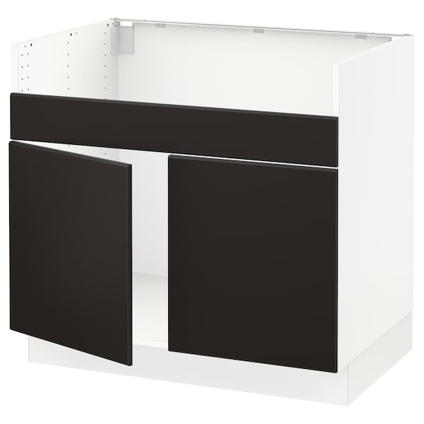 SEKTION Base cab f HAVSEN double bowl sink, white/Kungsbacka anthracite, 36x24x30 ""