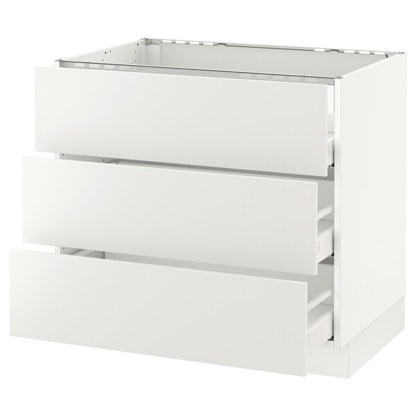 "SEKTION base cabinet f/cooktop w/3drawers white Maximera/Häggeby white 36 "" 24 3/4 "" 34 1/2 "" 24 "" 30 """