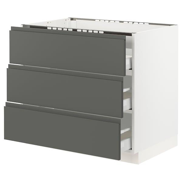 "SEKTION base cabinet f/cooktop w/3drawers white Maximera/Voxtorp dark gray 36 "" 24 7/8 "" 34 1/2 "" 24 "" 30 """
