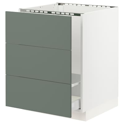 "SEKTION base cabinet f/sink & waste sorting white Maximera/Bodarp gray-green 24 "" 24 "" 24 3/4 "" 30 """