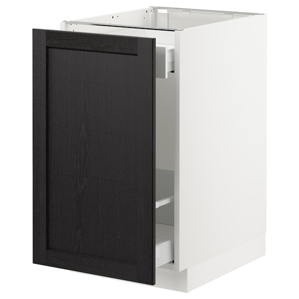 "SEKTION base cabinet for sorting + 1 door white Maximera/Lerhyttan black stained 18 "" 24 "" 24 3/4 "" 30 """