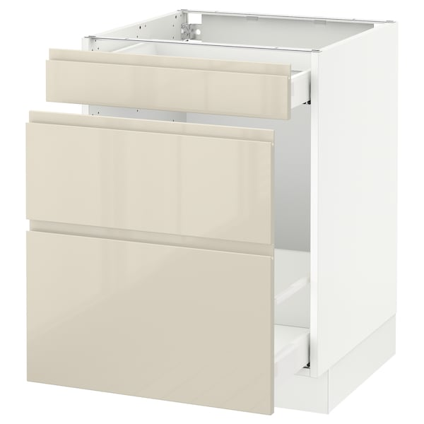 "SEKTION base cabinet for recycling white Maximera/Voxtorp high-gloss light beige 24 "" 24 "" 24 7/8 "" 30 """