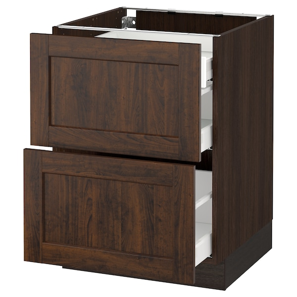 """SEKTION Base cab with 2 fronts/3 drawers, brown Maximera/Edserum brown, 24x24x30 """""""