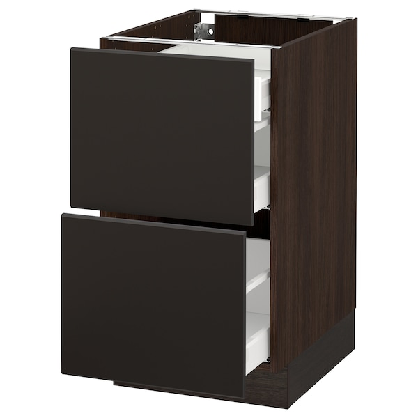 """SEKTION Base cab with 2 fronts/3 drawers, brown Maximera/Kungsbacka anthracite, 18x24x30 """""""