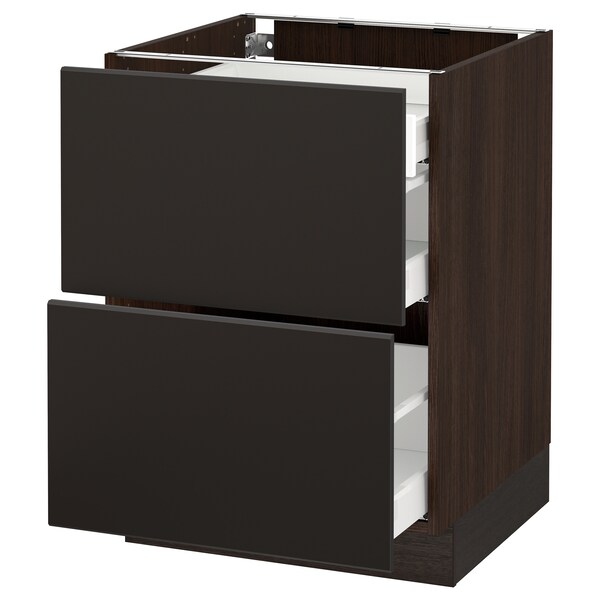 SEKTION Base cab with 2 fronts/3 drawers, brown Maximera/Kungsbacka anthracite, 24x24x30 ""