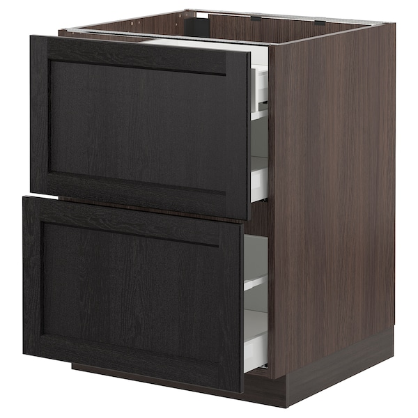 SEKTION Base cab with 2 fronts/3 drawers, brown Maximera/Lerhyttan black stained, 24x24x30 ""