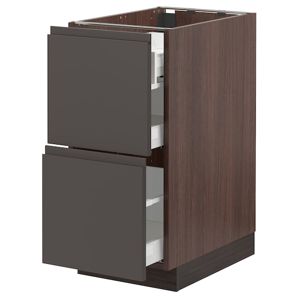 SEKTION Base cab with 2 fronts/3 drawers, brown Maximera/Voxtorp dark gray, 15x24x30 ""