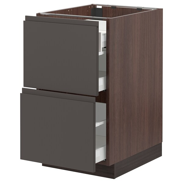 SEKTION Base cab with 2 fronts/3 drawers, brown Maximera/Voxtorp dark gray, 18x24x30 ""