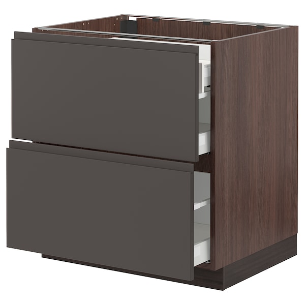 """SEKTION Base cab with 2 fronts/3 drawers, brown Maximera/Voxtorp dark gray, 30x24x30 """""""