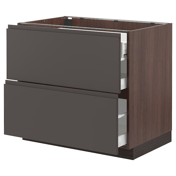 SEKTION Base cab with 2 fronts/3 drawers, brown Maximera/Voxtorp dark gray, 36x24x30 ""
