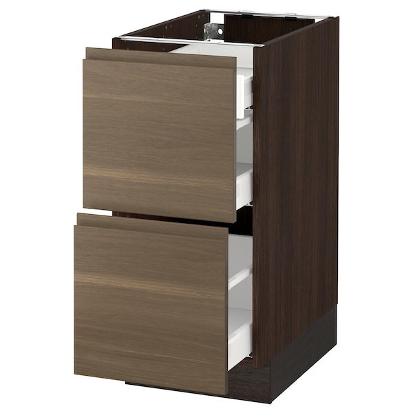 """SEKTION Base cab with 2 fronts/3 drawers, brown Maximera/Voxtorp walnut, 15x24x30 """""""