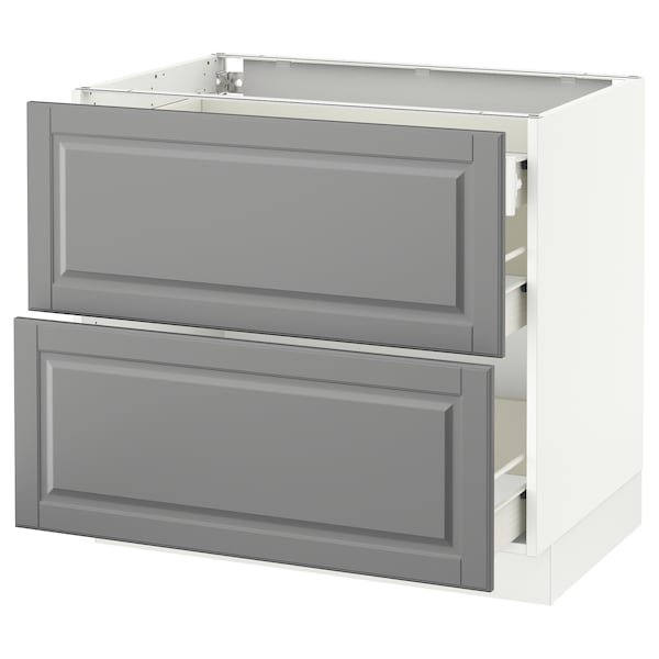 """SEKTION Base cab with 2 fronts/3 drawers, white Förvara/Bodbyn gray, 36x24x30 """""""