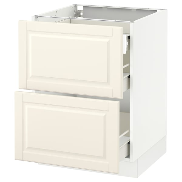 """SEKTION Base cab with 2 fronts/3 drawers, white Förvara/Bodbyn off-white, 24x24x30 """""""