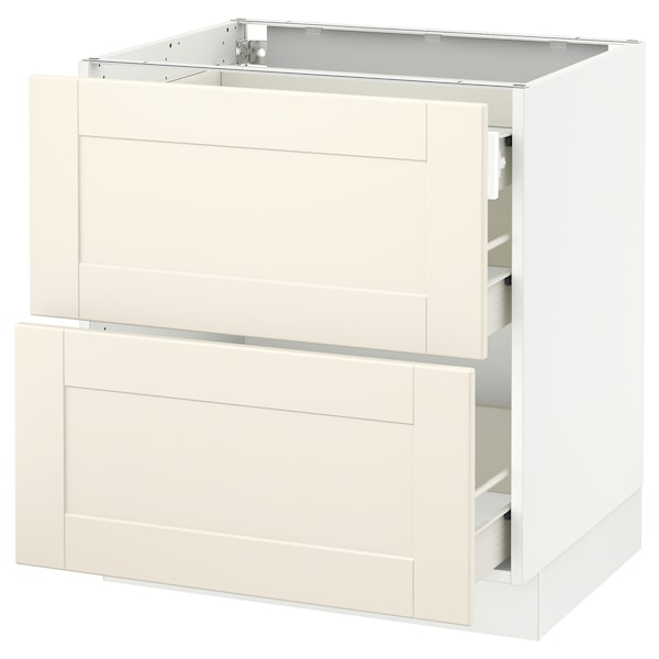 SEKTION Base cab with 2 fronts/3 drawers, white Förvara/Grimslöv off-white, 30x24x30 ""