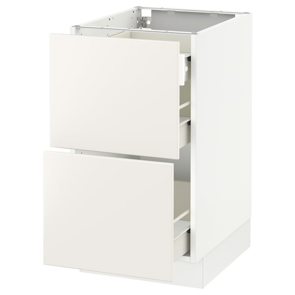 SEKTION Base cab with 2 fronts/3 drawers, white Förvara/Veddinge white, 18x24x30 ""