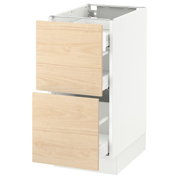 """SEKTION Base cab with 2 fronts/3 drawers, white Maximera/Askersund light ash effect, 15x24x30 """""""