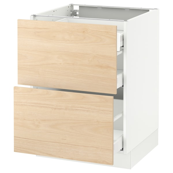"""SEKTION Base cab with 2 fronts/3 drawers, white Maximera/Askersund light ash effect, 24x24x30 """""""