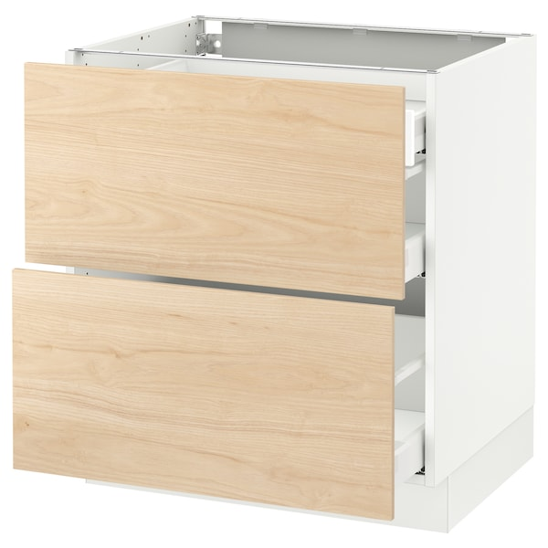 """SEKTION Base cab with 2 fronts/3 drawers, white Maximera/Askersund light ash effect, 30x24x30 """""""
