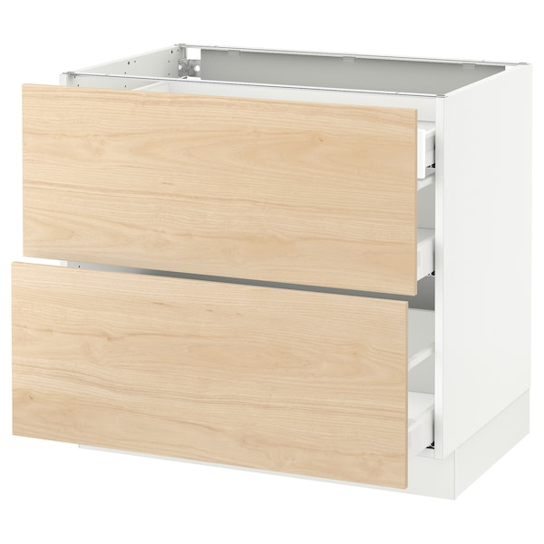 """SEKTION Base cab with 2 fronts/3 drawers, white Maximera/Askersund light ash effect, 36x24x30 """""""