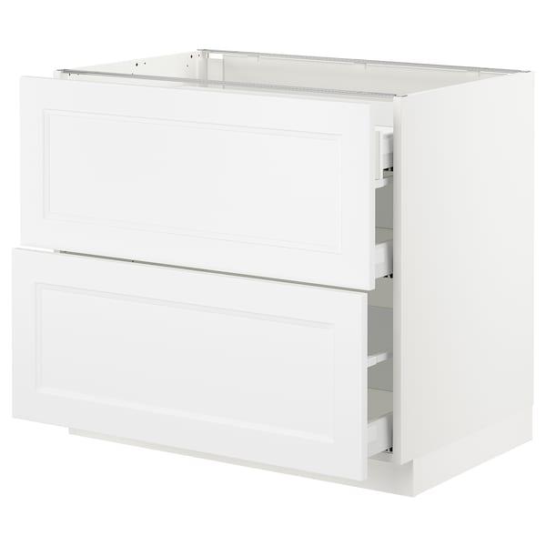 "SEKTION Base cab with 2 fronts/3 drawers, white Maximera/Axstad matt white, 36x24x30 """