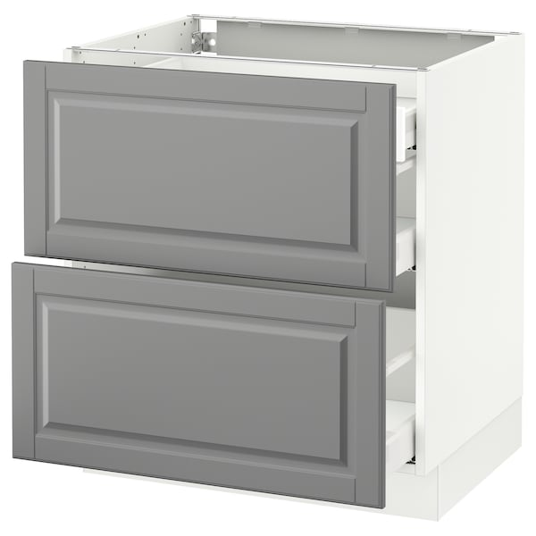 SEKTION Base cab with 2 fronts/3 drawers, white Maximera/Bodbyn gray, 30x24x30 ""