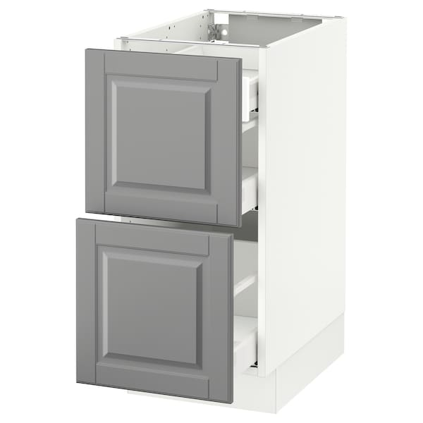 """SEKTION Base cab with 2 fronts/3 drawers, white Maximera/Bodbyn gray, 15x24x30 """""""
