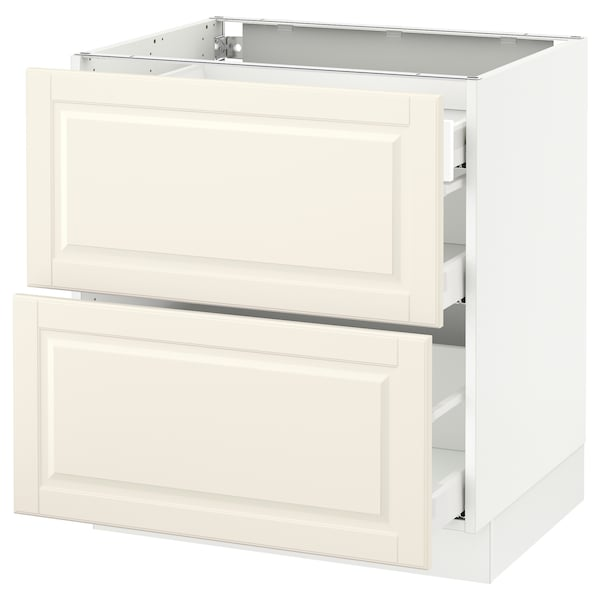 """SEKTION Base cab with 2 fronts/3 drawers, white Maximera/Bodbyn off-white, 30x24x30 """""""