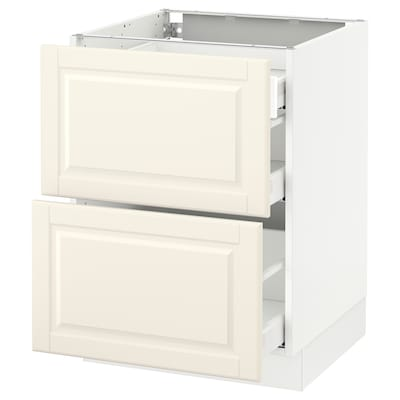 SEKTION Base cab with 2 fronts/3 drawers, white Maximera/Bodbyn off-white, 24x24x30 ""