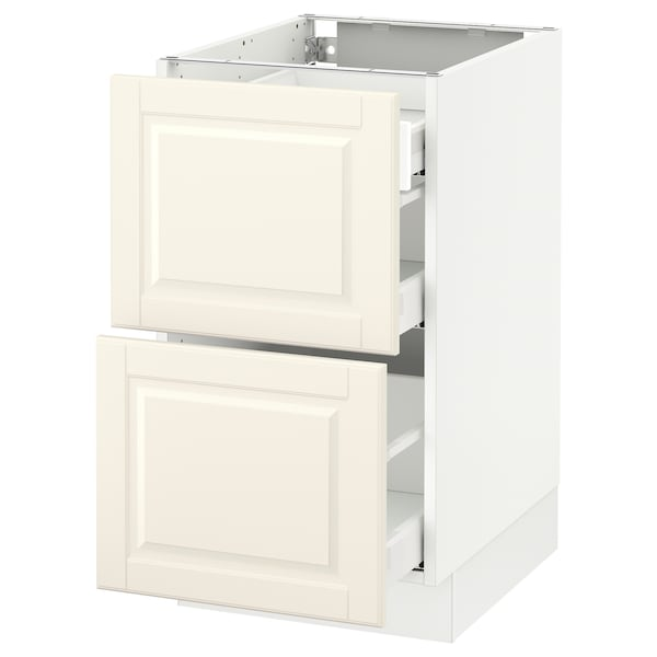 """SEKTION Base cab with 2 fronts/3 drawers, white Maximera/Bodbyn off-white, 18x24x30 """""""