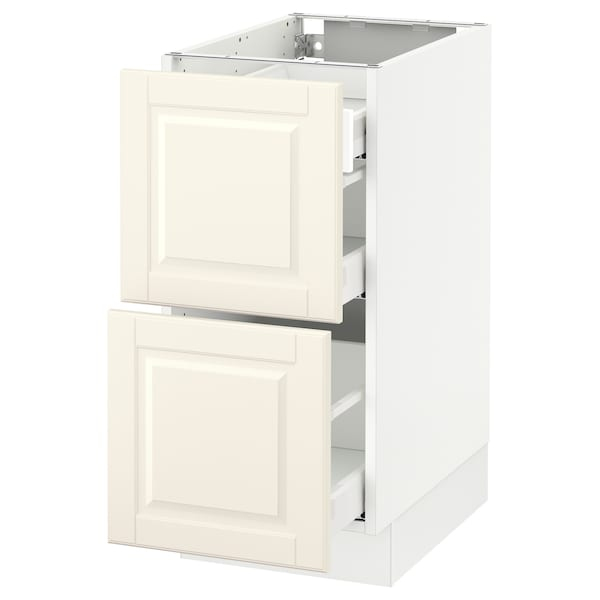 """SEKTION Base cab with 2 fronts/3 drawers, white Maximera/Bodbyn off-white, 15x24x30 """""""
