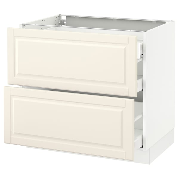 SEKTION Base cab with 2 fronts/3 drawers, white Maximera/Bodbyn off-white, 36x24x30 ""